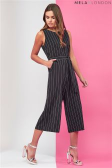 Mela London Pinstripe Culotte Jumpsuit