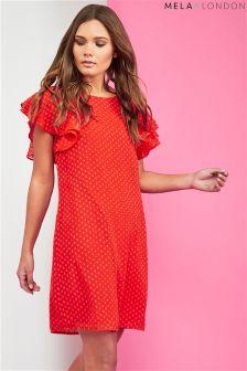 Mela London Double Fluted Sleeve Dress