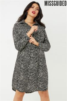 Missguided Curve Spot Print Shirt Dress