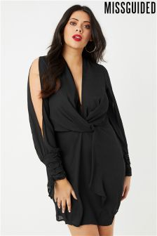 Missguided Curve Twist Front Tie Cuff Dress