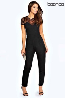 Boohoo Tiana Lace Neck Detail Jumpsuit