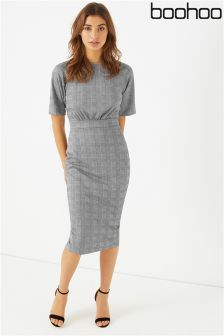 Boohoo Check Midi Wiggle Dress
