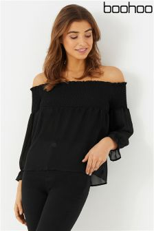 Boohoo Shirred Bardot Blouse