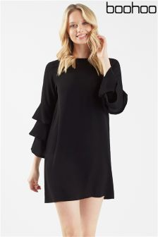 Boohoo Tiered Ruffle Sleeve Shift Dress