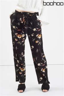 Boohoo Floral Print Highwaist Trouser With Belt