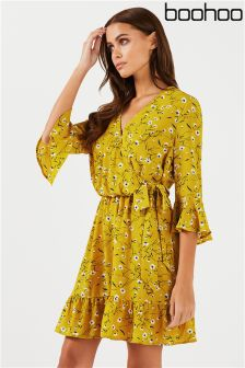 Boohoo Floral Print Wrap Mini Dress