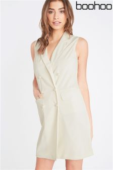 Boohoo Jade Pearl Button Sleeveless Blazer Dress