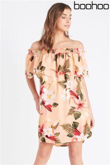 Boohoo Tropical Print Bardot Dress