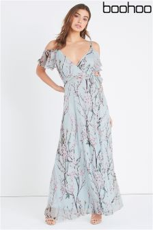 Boohoo Strappy Floral Cold Shoulder Maxi Dress
