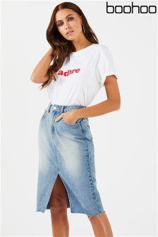 Boohoo Denim Midi Skirt