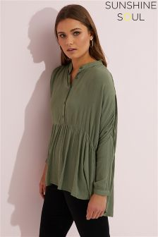 Sunshine Soul Oversize Drop Empire Tunic Blouse