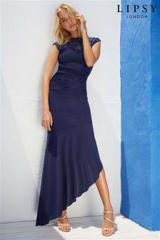 Lipsy Sequin Built Up Asymmetric Maxi Dress