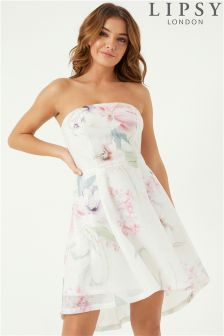 Lipsy Printed Sequin Prom Dress