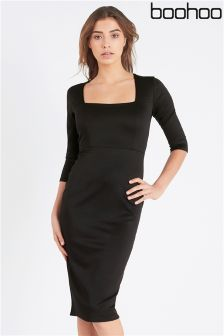 Boohoo Square Neck Midi Bodycon Dress