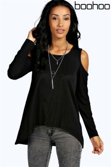 Boohoo Ribbed Cold Shoulder Long Sleeve Top