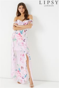 Lipsy Soft Tropical Print Ruffle Maxi Dress