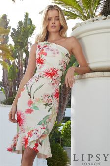 Lipsy Petite Amy Floral Print One Shoulder Flute Hem Bodycon