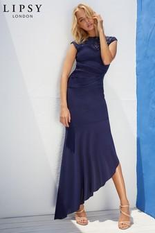 Lipsy Petite Sequin Built Up Asymmetric Maxi Dress