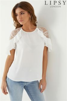 Lipsy Lace Shoulder Frill Top