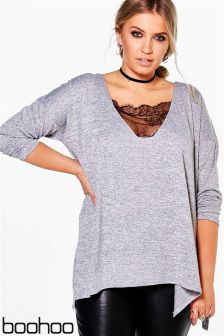 Boohoo Plus Lace Detail Jumper