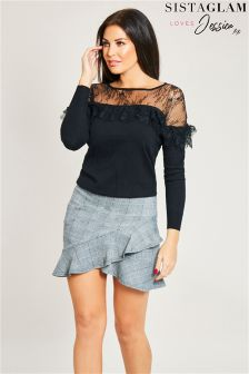 Jessica Wright Frill Asymmetric Mini Skirt