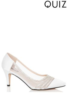 Quiz Satin Diamanté  Low Heel Courts