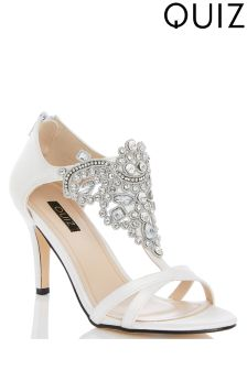 Quiz Satin Jewelled Front Heeled Sandals
