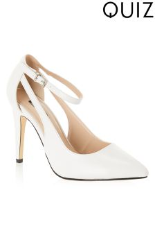 Quiz PU Cutout Ankle Strap Pointed Courts