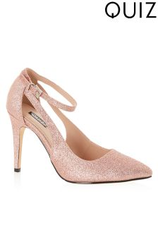 Quiz Glitter Cutout Ankle Strap Pointed Courts