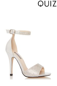 Quiz Shimmer Diamanté Ankle Strap Sandal