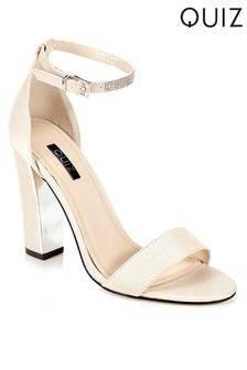 Quiz Shimmer Block Heeled Sandal