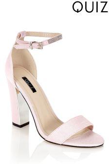 Quiz Shimmer Block Heeled Sandals