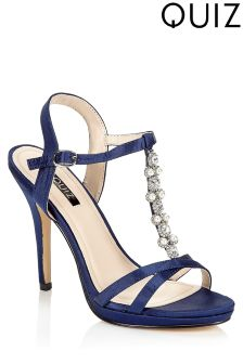 Quiz Satin Pearl Heeled Sandals