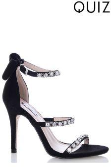 Quiz Jewel 3 Strap Faux Suede Heeled Sandals