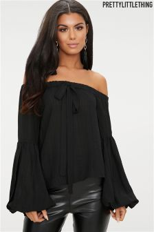 PrettyLittleThing Balloon Sleeves Bardot Top