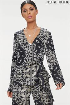 PrettyLittleThing Patterned Print Wrap Top