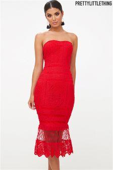 PrettyLittleThing Lace Bandeau Longline Midi Dress
