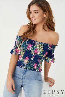 Lipsy Floral Shirred Bardot Top