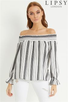 Lipsy Stripe Bardot Top