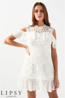 Lipsy Lace Ruffle Mini Dress