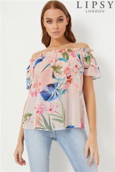 Lipsy Floral Short Sleeve Bardot Top