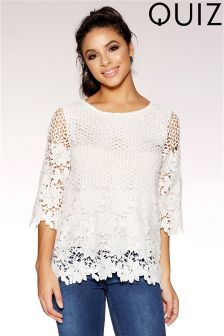 Quiz Cream Crochet Top
