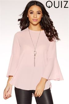 Quiz Crepe Ruffle Sleeve Necklace Top