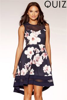 Quiz Floral Sweetheart Neckline Dip Hem Dress