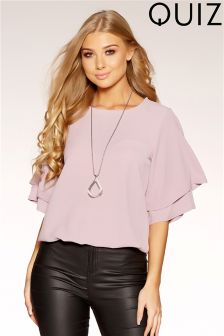 Quiz Double Sleeve Necklace Top