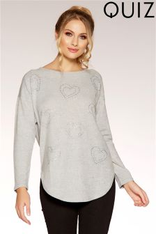 Quiz Light Knit Diamanté Heart Long Sleeve Jumper