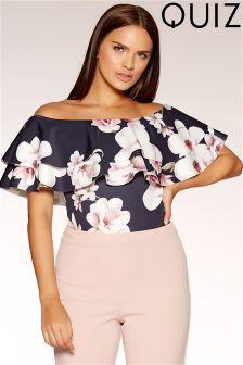 Quiz Floral Print Bardot Double Frill Bodysuit