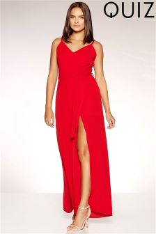 Quiz Crepe Front Split Wide Leg Jumpsuit