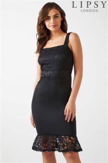 Lipsy Lace Top Flute Hem Bodycon Dress