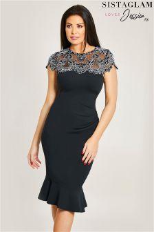 Sistaglam Loves Jessica Scallop Bodycon Dress